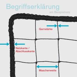 Seitenschutznetz 10,00 x 2,00 m, DIN-EN1263-1, Mw. 100 mm kl. inkl. Gurtschnellverschlüssen